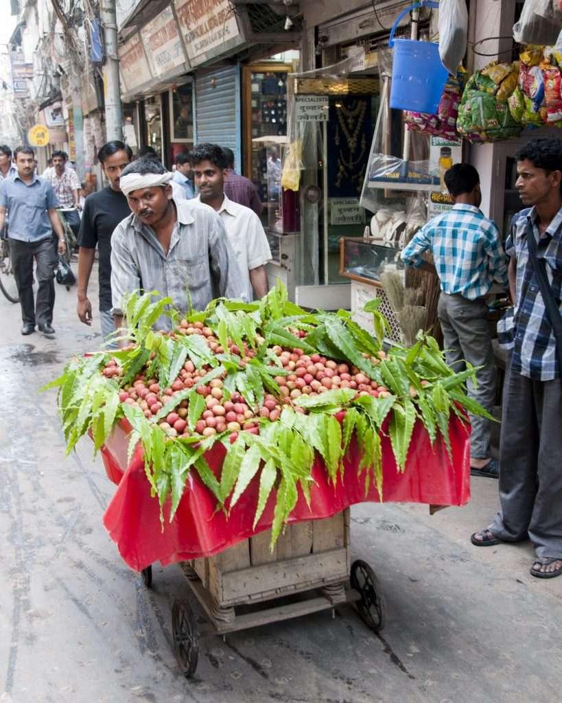 Fruit vendor with cart in Delhi, India by Ralph Velasco