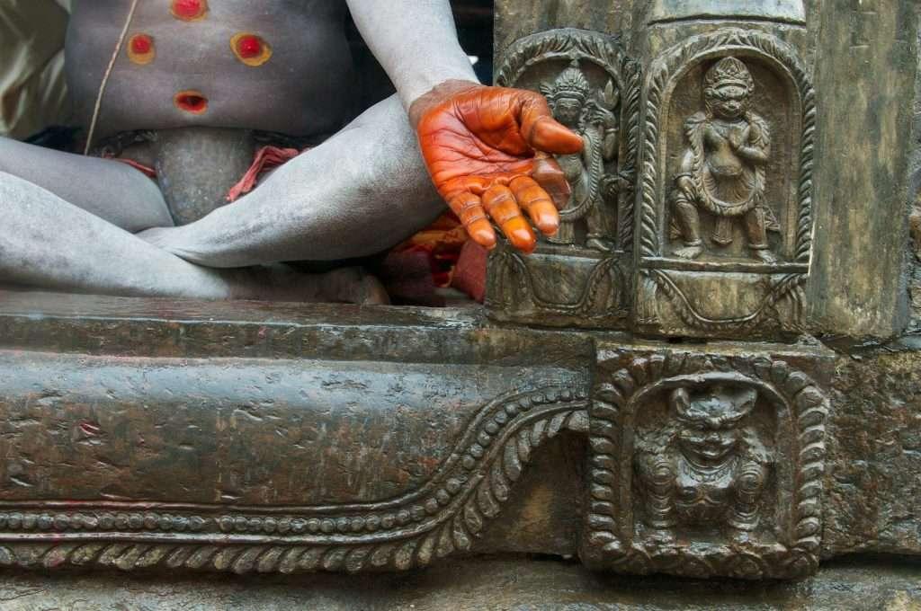 Medium shot of sadhu's hand and detail in Pashupati Nath - Medium - Kathmandu, Nepal by Ralph Velasco