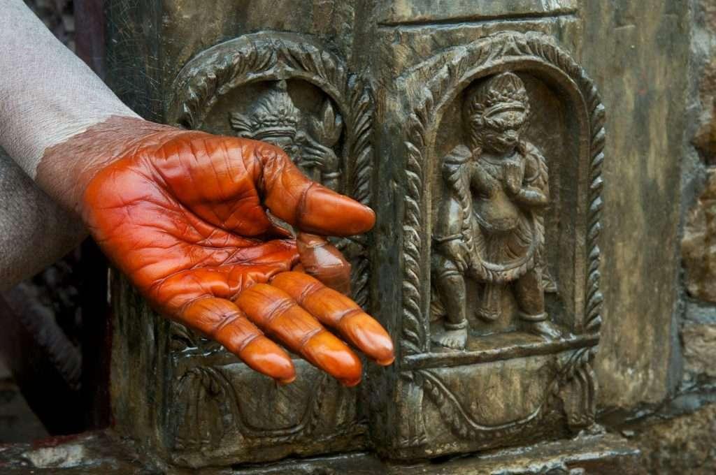 Closeup of sadhu's hand in Pashupatinath, Kathmandu, Nepal by Ralph Velasco