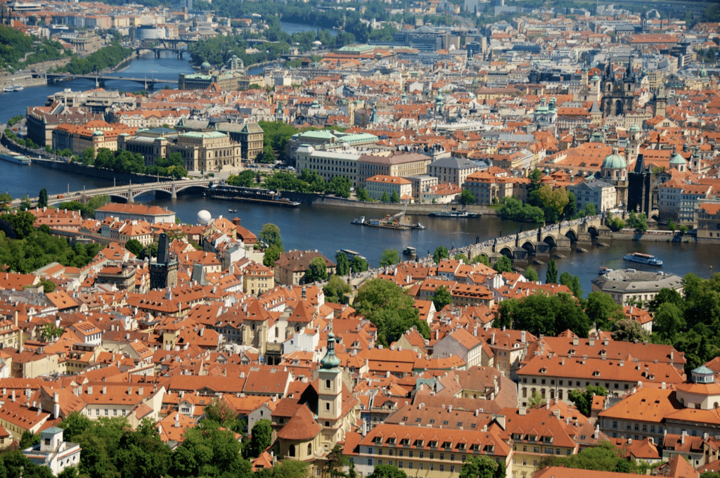 Overview of the Charles Bridge on the Vltava River in Prague, Czech Republic by Ralph Velasco
