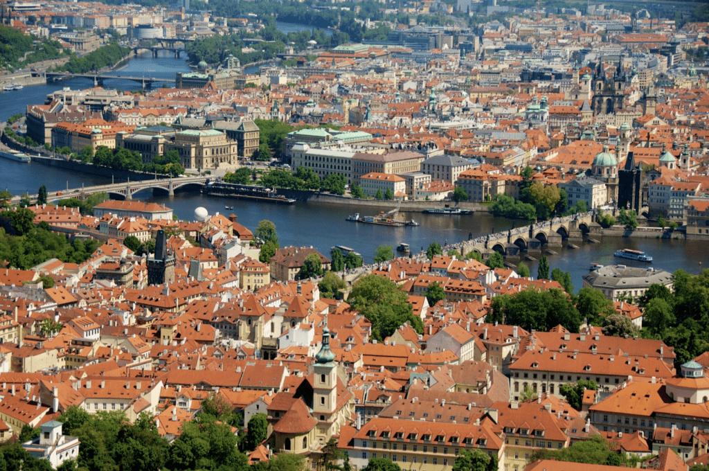 Overview of the Charles Bridge on the Vltava River in Prague, Czech Republic by Ralph Velasco